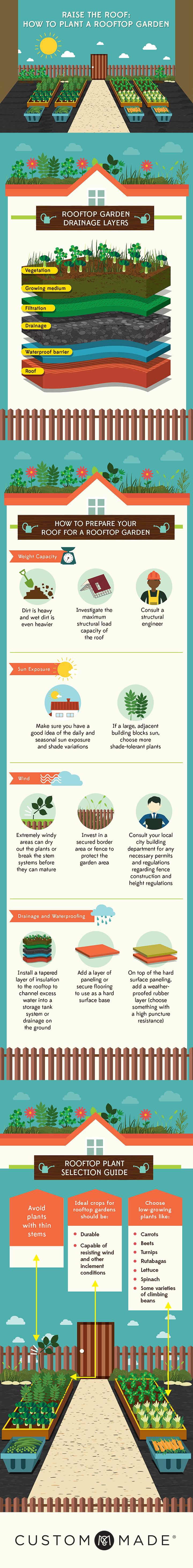 Heb jij altijd al je eigen tuintje willen hebben maar geen ruimte er voor gehad? Leer in deze infographic hoe je een tuin op jouw dak kan maken.