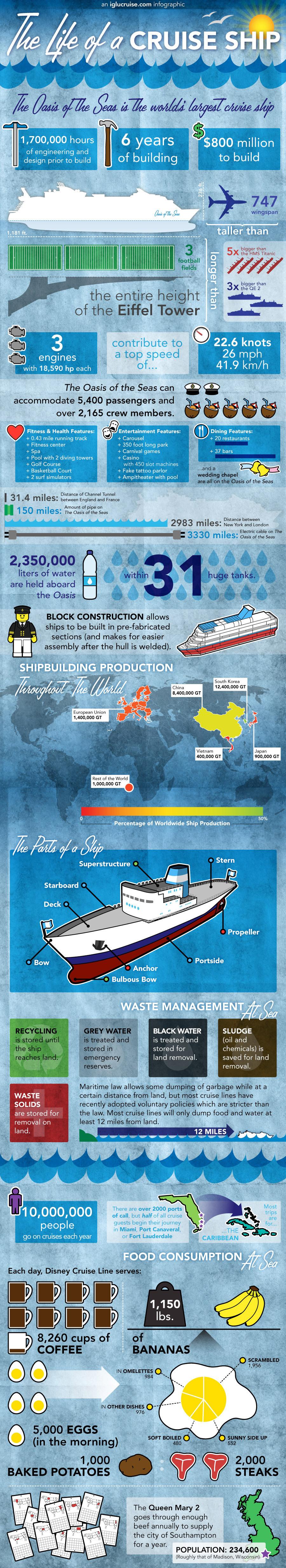 Infographic over al het werk wat er in een cruiseschip zit.
