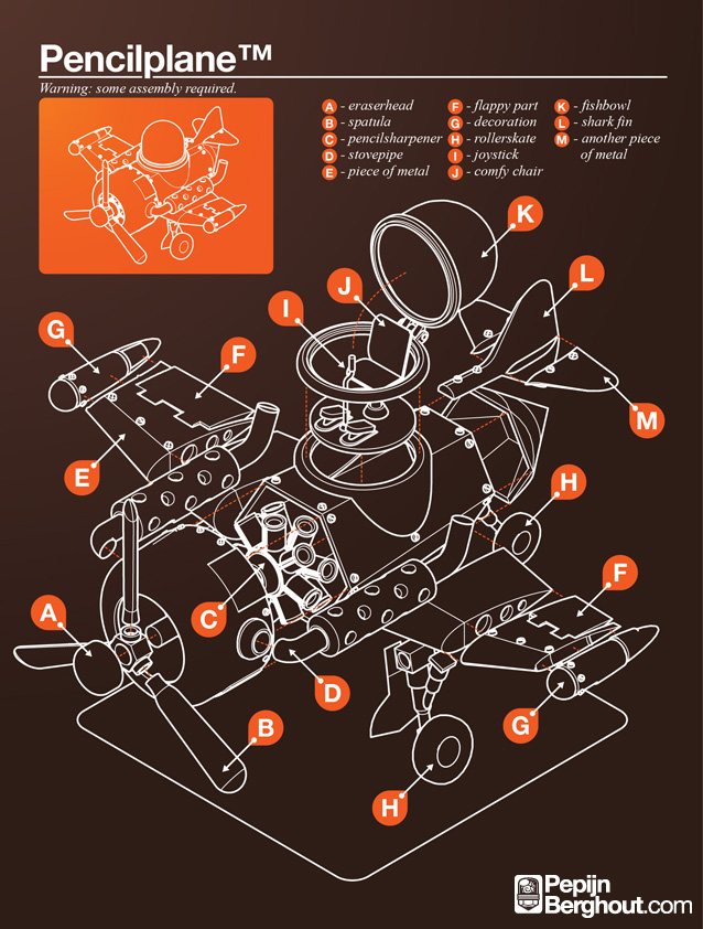 Infographic Vliegtuig van potlood