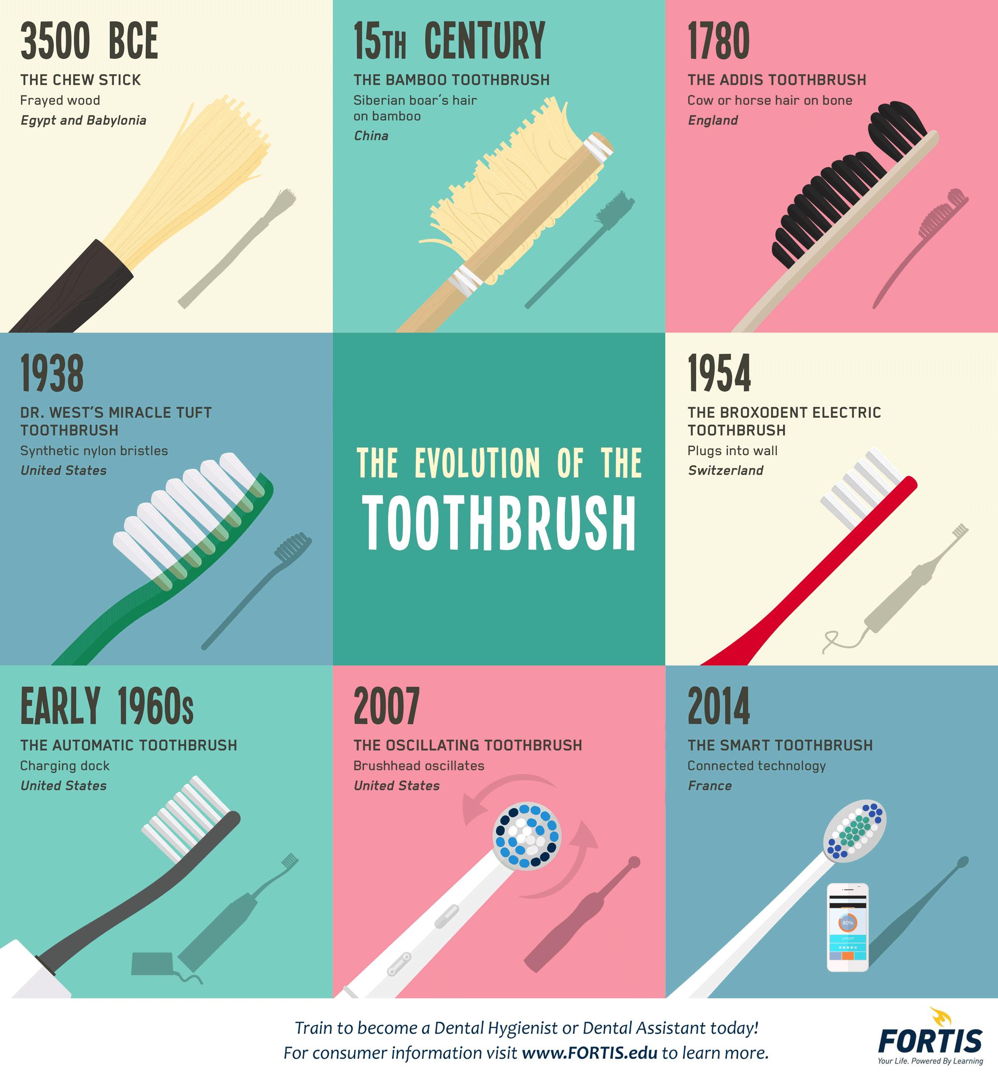 Infographic Tandenborstels door de jaren heen