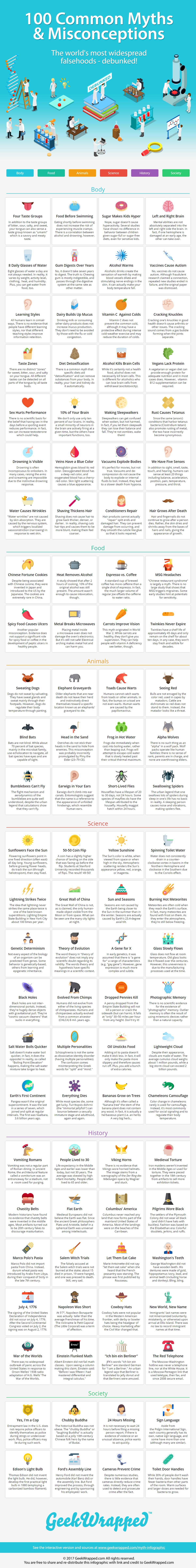 Infographic 100 Veel voorkomende mythen en misvattingen