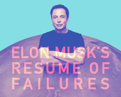 Een infographic thumbnail over Elon Musk's gefaalde uitvindingen.