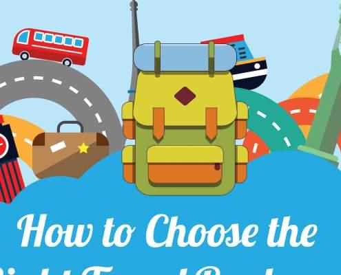 Een thumbnail van een infographic over de perfecte rugtas om mee te reizen.