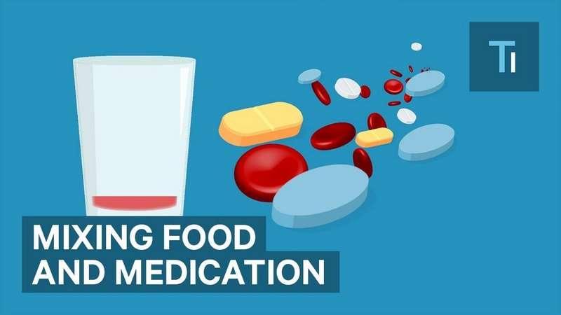 Infographic over welk eten je niet mag combineren met medicijnen