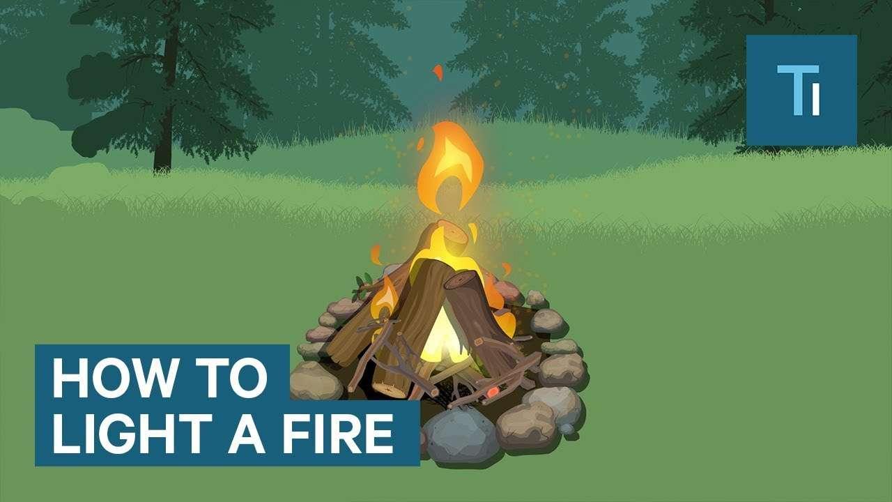 Infographic over hoe je vuur moet maken zonder een aansteker